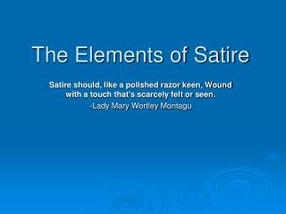 The Elements of Satire