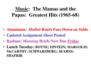 Music : The Mamas and the Papas:  Greatest Hits (1965-68)