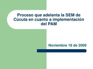 Proceso que adelanta la SEM de Cúcuta en cuanto a implementación del PAM