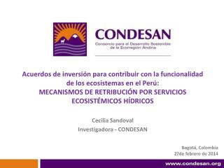 Cecilia Sandoval Investigadora - CONDESAN