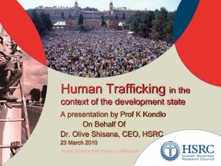 Human Trafficking in the context of the development state