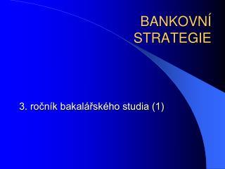 BANKOVNÍ  STRATEGIE