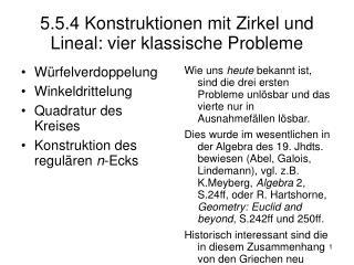 5.5.4 Konstruktionen mit Zirkel und Lineal: vier klassische Probleme