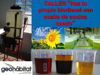 """TALLER  """" Haz tu propio biodiesel con aceite de cocina usado """""""