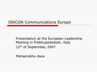 ISKCON Communications Europe