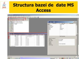 Structura bazei de  date MS Access