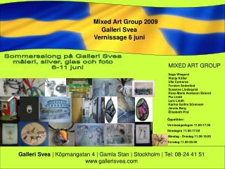 Mixed Art Group 2009                 Galleri Svea                 Vernissage 6 juni