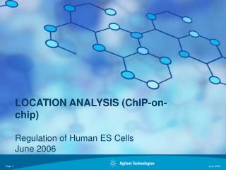 LOCATION ANALYSIS (ChIP-on-chip) Regulation of Human ES Cells June 2006