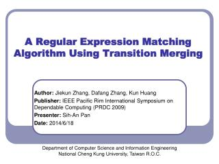 A Regular Expression Matching Algorithm Using Transition Merging