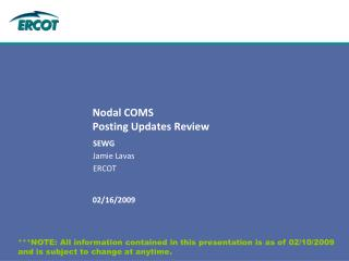 Nodal COMS  Posting Updates Review
