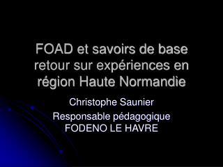 FOAD et savoirs de base retour sur expériences en région Haute Normandie