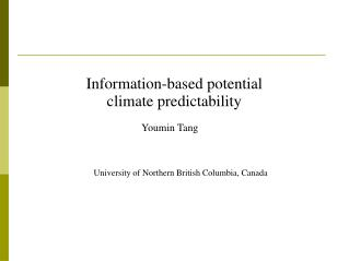 Information-based potential climate predictability