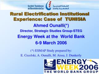 Rural Electrification Institutional Experience: Case of  TUNISIA