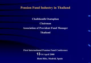 Pension Fund Industry in Thailand