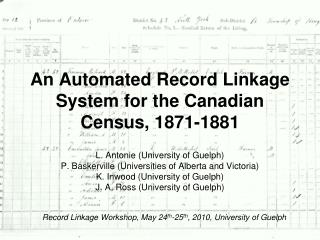 An Automated Record Linkage System for the Canadian Census, 1871-1881
