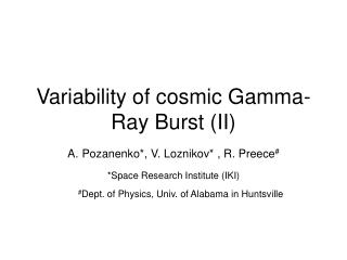 Variability of cosmic Gamma-Ray Burst (II)