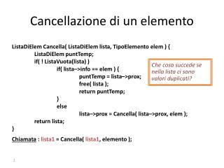 Cancellazione di un elemento