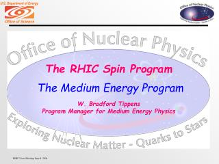 The RHIC Spin Program W. Bradford Tippens Program Manager for Medium Energy Physics