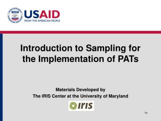 Introduction to Sampling for the Implementation of PATs
