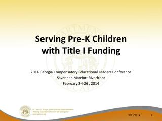 Serving Pre-K Children  with Title I Funding