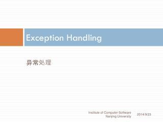 Exception Handling