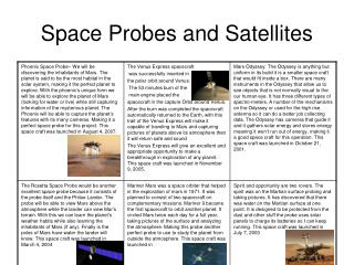 Space Probes and Satellites