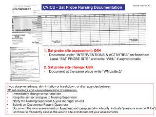 CVICU - Sat Probe Nursing Documentation