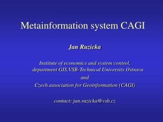 Metainformation system CAGI