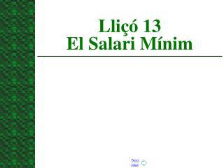 Lliçó 13  El Salari Mínim