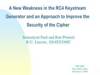 Souradyuti Paul and Bart Preneel K.U. Leuven,  ESAT/COSIC