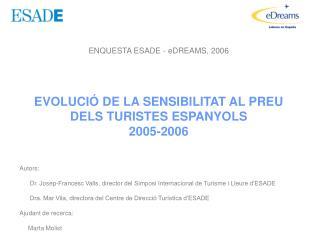 ENQUESTA ESADE - eDREAMS, 2006 EVOLUCI� DE LA SENSIBILITAT AL PREU DELS TURISTES ESPANYOLS