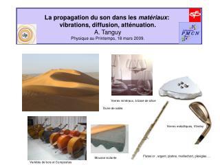 La propagation du son dans les  matériaux :  vibrations, diffusion, atténuation. A. Tanguy