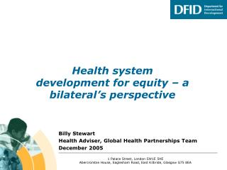 Health system development for equity – a bilateral's perspective