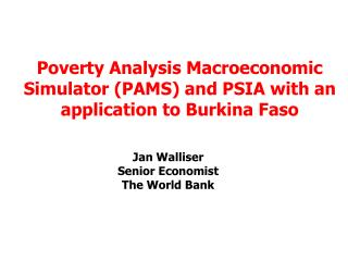 Jan Walliser Senior Economist The World Bank