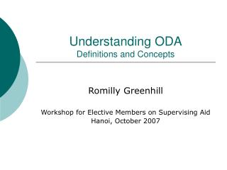 Understanding ODA Definitions and Concepts