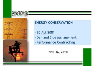 ENERGY CONSERVATION  EC Act 2001  Demand Side Management  Performance Contracting