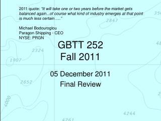 GBTT 252 Fall 2011