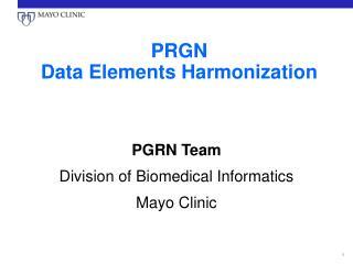 PRGN Data Elements Harmonization