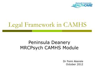 Legal Framework in CAMHS