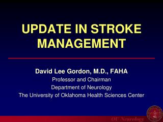 UPDATE IN STROKE MANAGEMENT