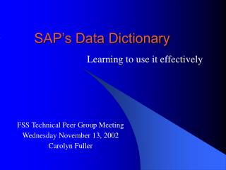 SAP's Data Dictionary