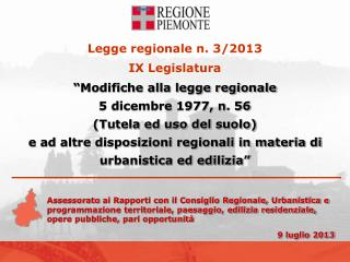Legge regionale n. 3/2013  IX Legislatura