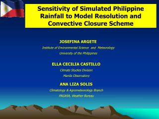 Sensitivity of Simulated Philippine Rainfall to Model Resolution and Convective Closure Scheme