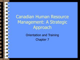 Canadian Human Resource Management: A Strategic Approach