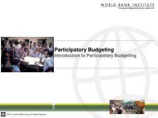 Participatory Budgeting   Introduction to Participatory Budgeting