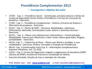 Previdência Complementar 2012