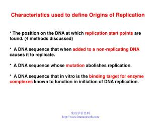 * The position on the DNA at which  replication start points  are found. (4 methods discussed)