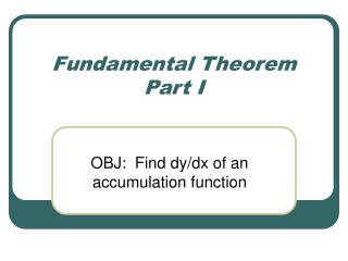 Fundamental Theorem Part I