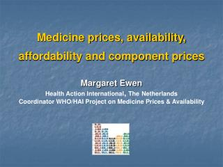 Medicine prices, availability,  affordability and component prices