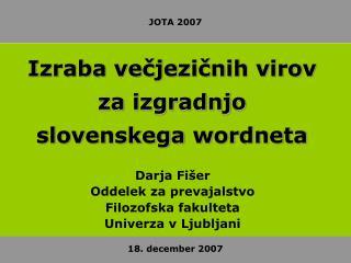 Izraba večjezičnih virov za izgradnjo slovenskega wordneta